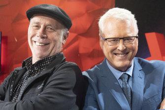 Former <i>Q&A</i> executive producer Peter McEvoy, left, and host Tony Jones.