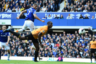Richarlison scores the winning goal for Everton against Wolverhampton Wanderers at Goodison Park on Sunday.