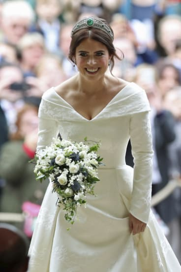 Princess Eugenie arrives for her wedding to Jack Brooksbank  in St George's Chapel, Windsor Castle, on Friday.
