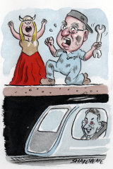 George Altomonte and Opera Australia are pursuing Sydney Metro for compensation. Illustration: John Shakespeare