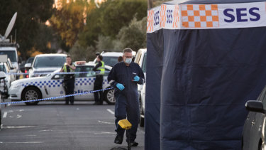 Forensic Police at the scene of a stabbing death in Augusta Avenue in Campbellfield.