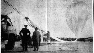The giant balloon is inflated with helium just prior to bursting.