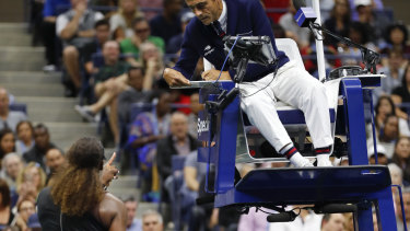 Explosion: Williams had a number of exchanges with chair umpires Carlos Ramos.