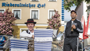 Ugur Bagislayici, whose background is Turkish and Bavarian, drinks a beer in Deggendorf in May.