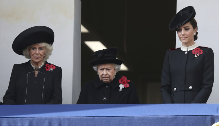 The Duchess of Cornwall, Queen Elizabeth II and the Duchess of Cambridge watch London's Armistice Day service.