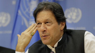 Imran Khan, Prime Minister of Pakistan, speaks to reporters at United Nations on Tuesday.