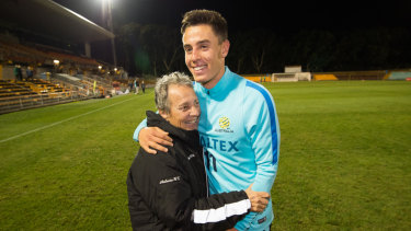 Ikonomidis with his grandmother Evangelia after a Socceroos training session in 2016.