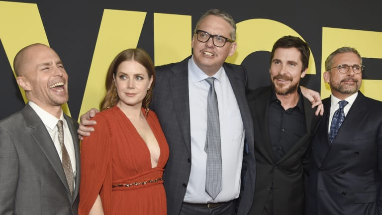 Adam McKay, centre, with the stars of <i>Vice</i>, from left: Sam Rockwell, Amy Adams, Christian Bale and Steve Carell.