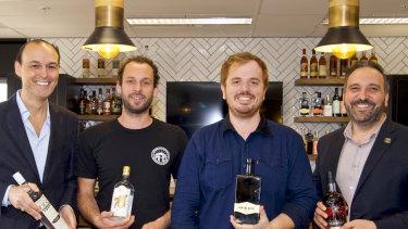 Dean Lucas (left) of 666 Vodka, Sacha La Forgia of Adelaide Hills Distillery, Tom Baker of Mr Black, David Vitale of Starward are all thriving as craft distillers.