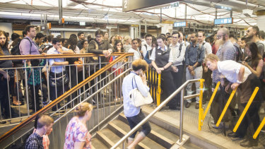 Overcrowding at Town Hall Station in the CBD is a growing problem.
