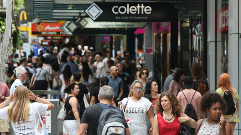 Christmas shopping in Brisbane's Queen Street Mall.