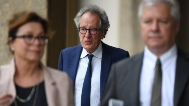 Geoffrey Rush outside court on Thursday.