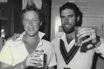 Kim Hughes and Greg Chappell at the SCG in January 1980.