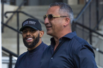 Storm winger Josh Addo-Carr spotted outside Belmore on Tuesday.