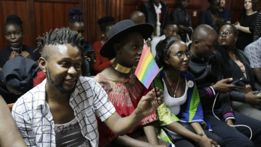 LGBT activists and supporters attend a Kenyan court ruling on whether to decriminalise same-sex relationships in Nairobi, Kenya, on February 22.