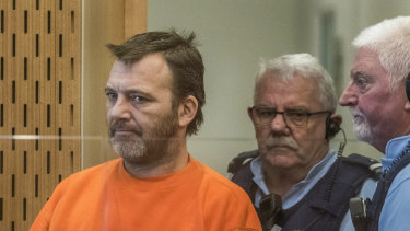 Philip Neville Arps, left, appears for sentencing in the Christchurch District Court.