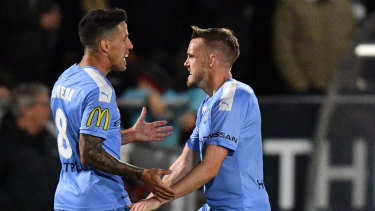 City's Craig Noone and Javier Cabrera: The Victorian A-League teams won't venture far from home to start the new A-League season.