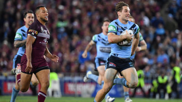 Cameron Murray finds a break during State of Origin on Wednesday night,