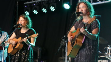 The Teeny Tiny Stevies performing songs off their album to a packed crowd at Woodford Folk Festival.
