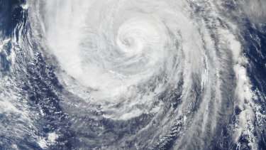 Typhoon Hagibis, as seen from space on October 11 by the Moderate Resolution Imaging Spectroradiometer (MODIS) on NASA's Aqua satellite.