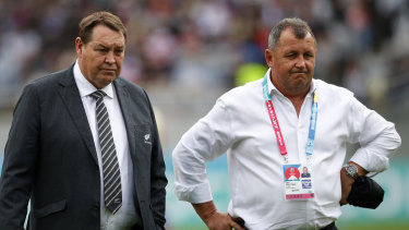 Foster (right) served a nine-year apprenticeship under Steve Hansen which included the 2015 Rugby World Cup win.