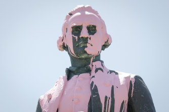 The Captain Cook statue in St Kilda was vandalised with pink paint in 2018.