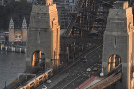 The Sydney Harbour Bridge with little traffic as seen from the Shangri-La Hotel during peak hour last month.