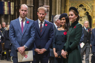 Prince William, Duke of Cambridge (left), and Catherine, Duchess of Cambridge (right), with Prince Harry, Duke of Sussex, and Meghan, Duchess of Sussex.