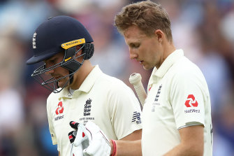 England duo Rory Burns (left) and captain Joe Root in the fifth Ashes Test.