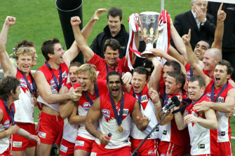 Sydney Swans celebrate after winning the grand final.