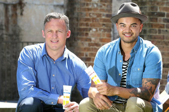 Singer Guy Sebastian and his former manager Titus Day (left) promoting Solar D sunscreen, now the subject of a Federal Court dispute between the pair.