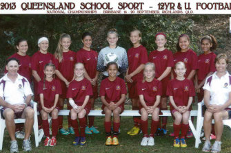 Young guns: Mary Fowler (middle, front row) and Ciara (back, second from right) in the Queensland under-12 schoolgirls team in 2012.