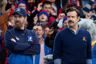Brendan Hunt as Coach Beard and Jason Sudeikis as Ted Lasso in the second season of the show that was spawned by an ad.
