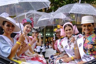Umbrellas were a key accessory for the parade.
