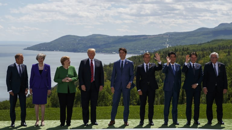 Straight to the spotlight: Italian PM Giuseppe Conte, second from right, with other G7 leaders in Canada.