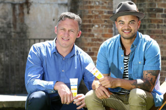 Guy Sebastian and his former agent Titus Day (left).