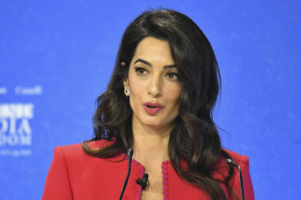 Human rights lawyer Amal Clooney speaks at the Media Freedom conference.