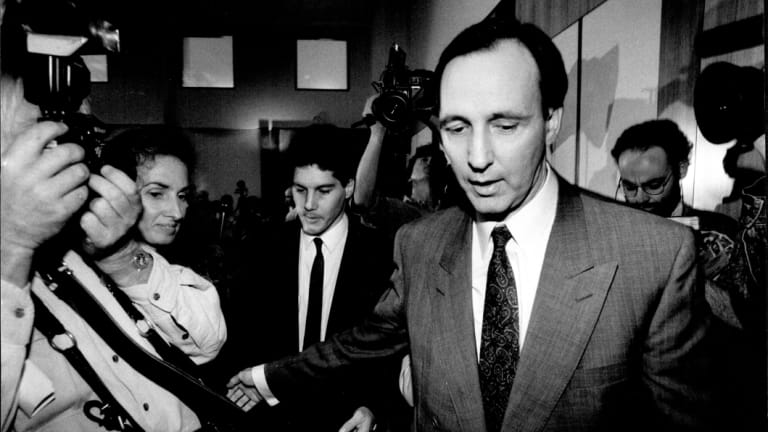 Paul and Anita Keating leave parliament house after the first, failed leadership challenge, June 1991.