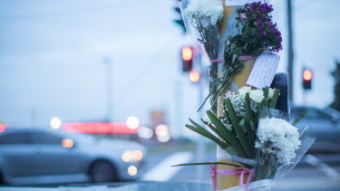 A memorial at the scene of yesterday's fatality in Ringwood.