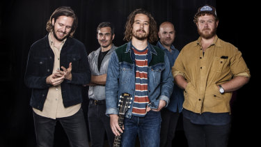 Sydney band Boy & Bear is back with a new album. From left: Killian Gavin, Dave Symes, Dave Hosking, Jon Hart and Tim Hart.