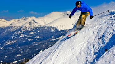 A skier on the upper slopes of Whistler Mountain in Canada.