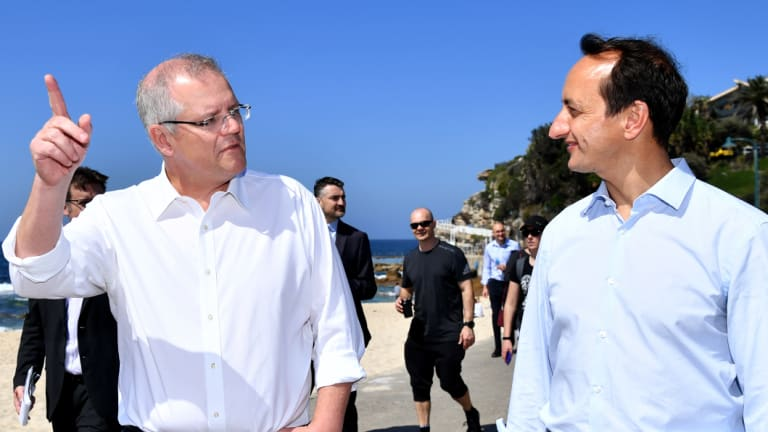 Prime Minister Scott Morrison, whose representative Alex Hawke didn't make the Wentworth preselection, with the winner of the ballot Dave Sharma.