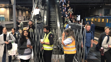The troublesome escalator at Southern Cross station during its month-long closure.