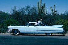Tony Wheeler's wife Maureen during a '90s odyssey across the US in a '50s Cadillac.