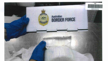 One of the packages of drugs intercepted by authorities.
