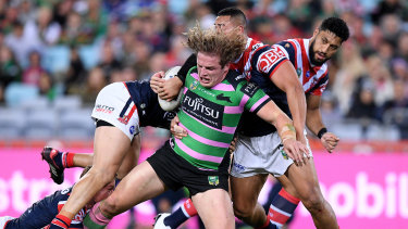 Home comforts: George Burgess and the Rabbitohs will have to play the Roosters on the home turf of the minor premiers should they meet in a grand final qualifier.