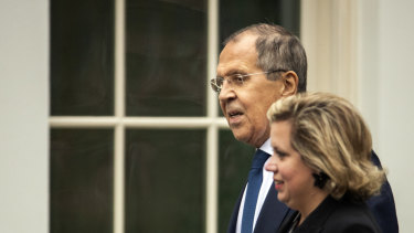 Russian Foreign Minister Sergei Lavrov arrives for a meeting with US President Donald Trump at the White House on Tuesday.