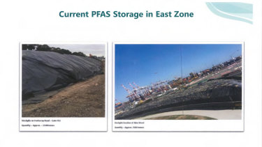 A West Gate Tunnel presentation to building supervisors identifies two PFAS storage sites.