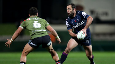 Cameron Smith playing in the halves against the Warriors.