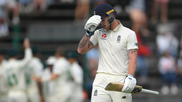 Ben Stokes heads to the pavilion –and spectator trouble – after being dismissed at The Wanderers.